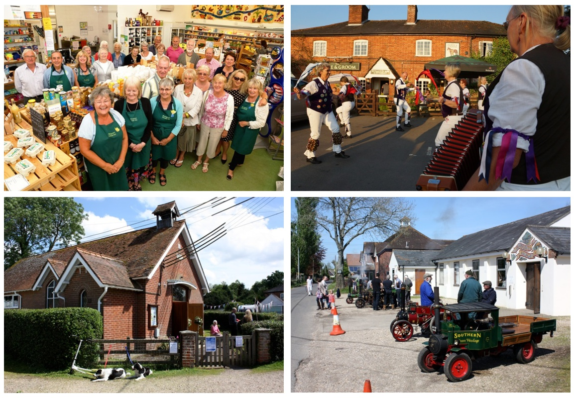 Clockwise from top left: Woodgreen Community Shop, the Horse and Groom Inn (photos © 2018 Bill Shepley), Woodgreen Village Hall and St Boniface Church (photos © 2018 Steve Morris)